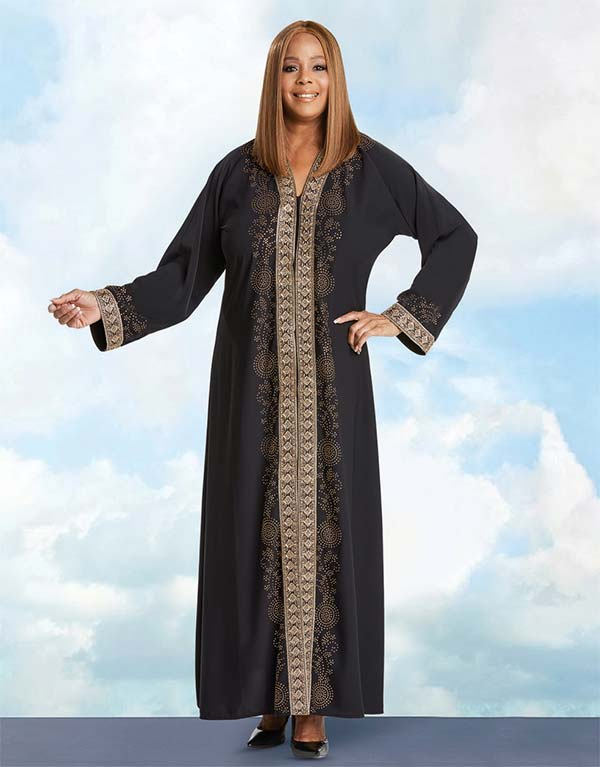Donna Vinci 11768 Womens Sermon Robe In Crepe de Chine Fabric With Embroidered Rhinestone Trim