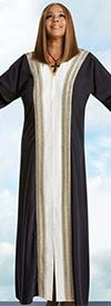 Donna Vinci 11770 Womens Church Robe In Crepe de Chine Fabric With Rhinestone & Beaded Trim