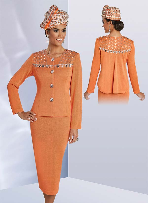 Donna Vinci 13246 Exclusive Knitted Yarn Skirt Set With Rhinestone & Pearl Embellishments