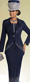 Donna Vinci 13247 Knitted Yarn Skirt Suit With Elaborate Rhinestone Design