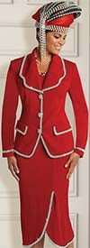 Donna Vinci 13248 Knitted Yarn Tulip Hem Skirt Suit With Pearl & Bead Trim