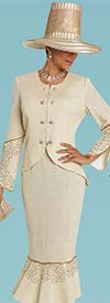 Donna Vinci 13249 Knitted Lurex Yarn Flounce Hem Skirt Suit With Gold Rhinestone Trim