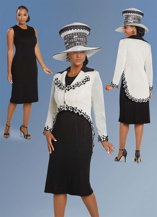 Donna Vinci 13250 Skirt Suit In Exclusive Knitted Yarn With Embroidered Flowers & Rhinestone Buttons