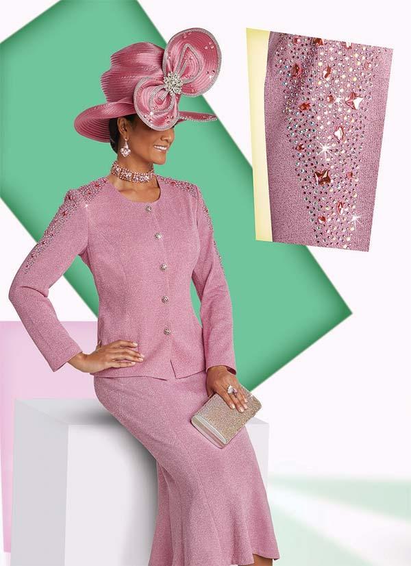 Donna Vinci 13251 Knitted Lurex Yarn Skirt Suit With Rhinestone Embellishments