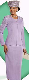 Donna Vinci 13252 Exclusive Knitted Yarn Skirt Suit With Rhinestone & Pearl Trim