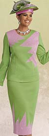 Donna Vinci 13253 Exclusive Knitted Yarn Skirt Suit With Lime & Pink Rhinestones
