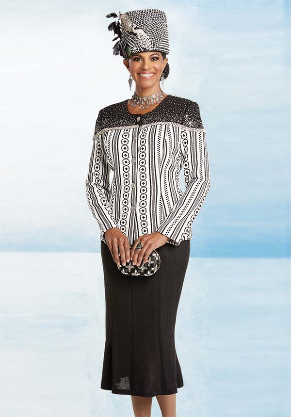 Donna Vinci 13254 Embellished Flared Skirt Suit In Exclusive Knitted Solid & Jacquard Yarns