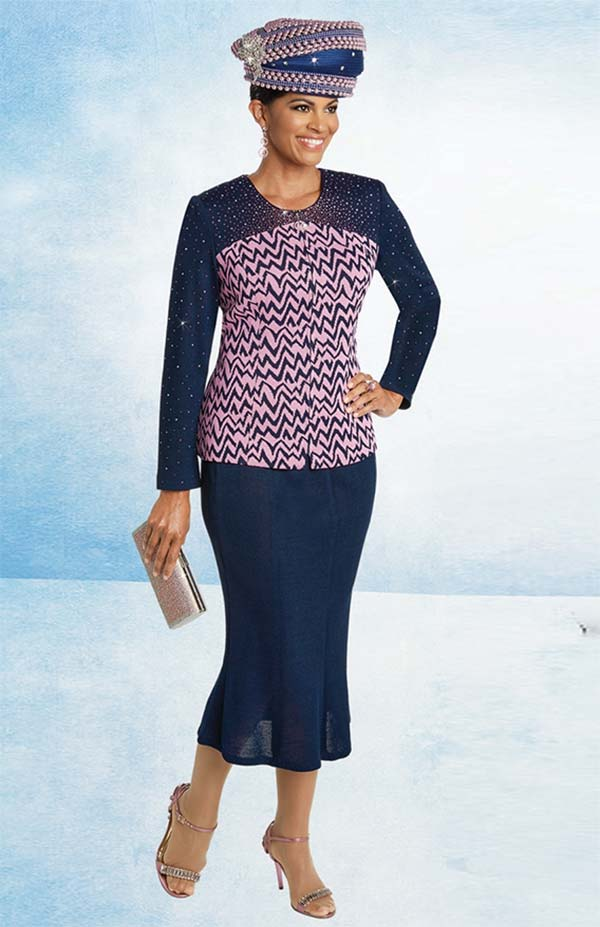Donna Vinci 13255 Womens Flared Skirt Suit In Exclusive Knitted Solid & Jacquard Yarns
