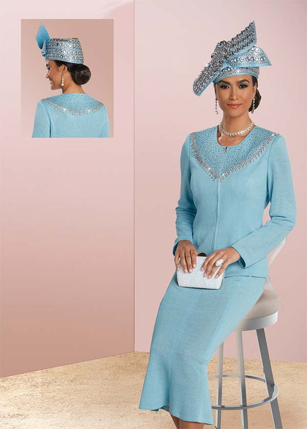Donna Vinci 13256 Knitted Yarn Skirt Set With Blue & Clear Rhinestones