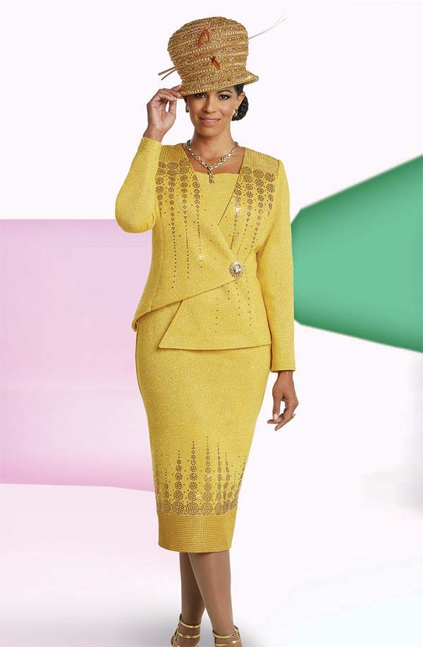Donna Vinci 13257 Skirt Suit In Knitted Lurex Yarn With Asymmetric Style Jacket