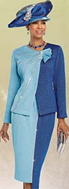 Donna Vinci 13258 Asymmetric Skirt Suit In Knitted Lurex Yarn With Rhinestones