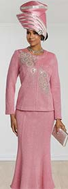 Donna Vinci 13259 Flared Skirt Suit In Knitted Lurex Yarn With Intricate Rhinestone Design