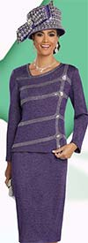 Donna Vinci 13260 Knitted Lurex Yarn Skirt Suit With Rhinestone Design & Asymmetrical Neckline
