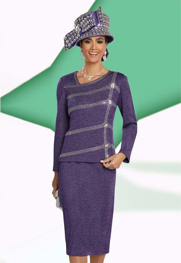 Donna Vinci 13260 Knitted Lurex Yarn Skirt Suit With Rhinestone Design & Asymmetrical Neckline