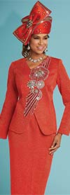 Donna Vinci 13261 Knitted Lurex Yarn Skirt Suit With Elaborate Rhinestone Design