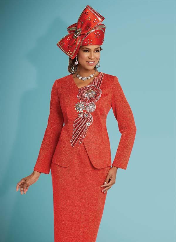 Donna Vinci 13261 Knitted Lurex Yarn Skirt Suit With Elaborate Rhinestone Design