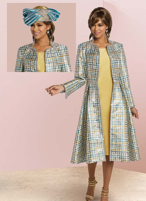 Donna Vinci 5629 Dress And Printed Jacket With Rhinestone Trim