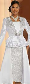 Donna Vinci 11821 Silver Embroidery Trimmed Flared Skirt Suit With Layered Peplum Jacket