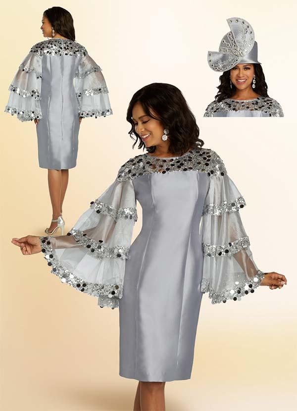 Donna Vinci 11822 Sequin Embellished Sheath Dress With Tiered Organza Sleeve Design