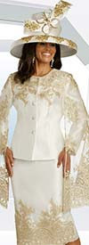 Donna Vinci 11823 Womens Cape Sleeve Church Suit In Organza Based Guipure Lace Embroidery Design