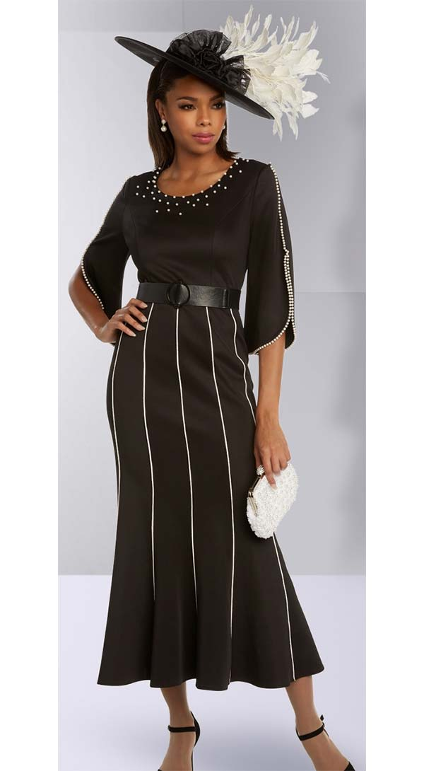 Donna Vinci 11824 Flared Dress With Pearl Trims And Adjustable Belt