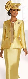 Donna Vinci 11826 Womens Church Suit In Silk Look And Metallic Fabric With Ruffle Detail Skirt