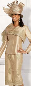 Donna Vinci 11828 Womens Church Suit In Silk Look Fabric With Embroidered Metallic Guipure Lace Details And Over Shoulder Adornment