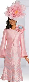 Donna Vinci 11832 Flared Church Dress And Asymmetric Style Bell Cuff Flower Feature Jacket With Chevron Pattern Piping