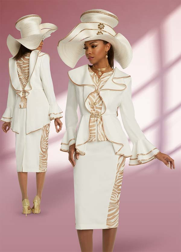Donna Vinci 11833 Sequined Peach Skin Fabric Womens Church Suit With Ruffled Split Peplum Jacket