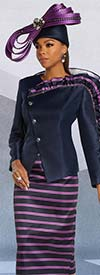 Donna Vinci 11836 Silk Look Skirt Set With Striped Design And Ruffle Detailed Wrap Style Jacket