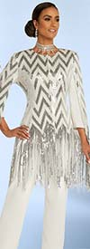 Donna Vinci 11838 Womens Peach Skin Fabric Pant Suit Featuring Chevron Pattern & Sequin Fringe Design