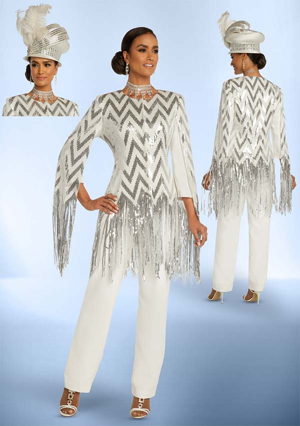 Donna Vinci 11838 Womens Peach Skin Fabric Pant Suit Featuring Chevron Pattern & Sequin Fringe Design