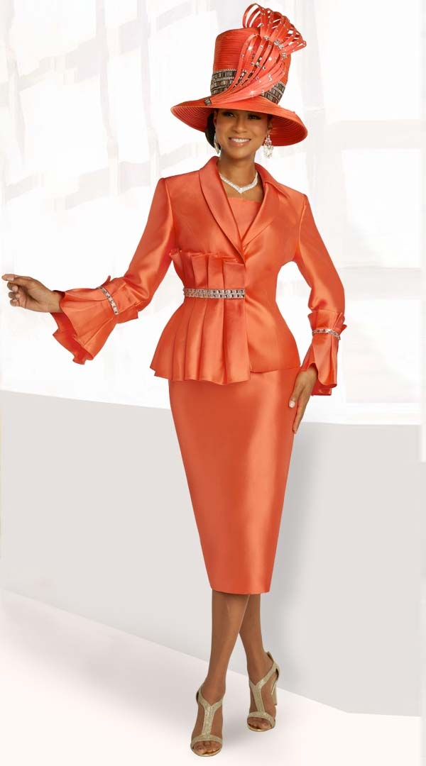 Donna Vinci 11841 Silk Look Ruffle Cuff Church Suit With Pleated Jacket Adornment And Rhinestone Trims