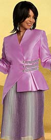 Donna Vinci 11842 Pleated Metallic Ombre' Fabric Skirt Set With Matching Cuffs On Jacket