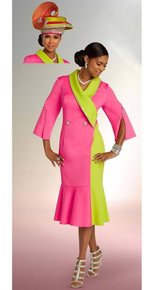 Donna Vinci 11845 Flounce Hemline Peach Skin Dress With Split Button Cuffs & Shawl Lapel
