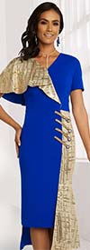 Donna Vinci 11846 Stretch Crepe And Novelty Metallic Fabric Dress With Half Shoulder And Side Adornments