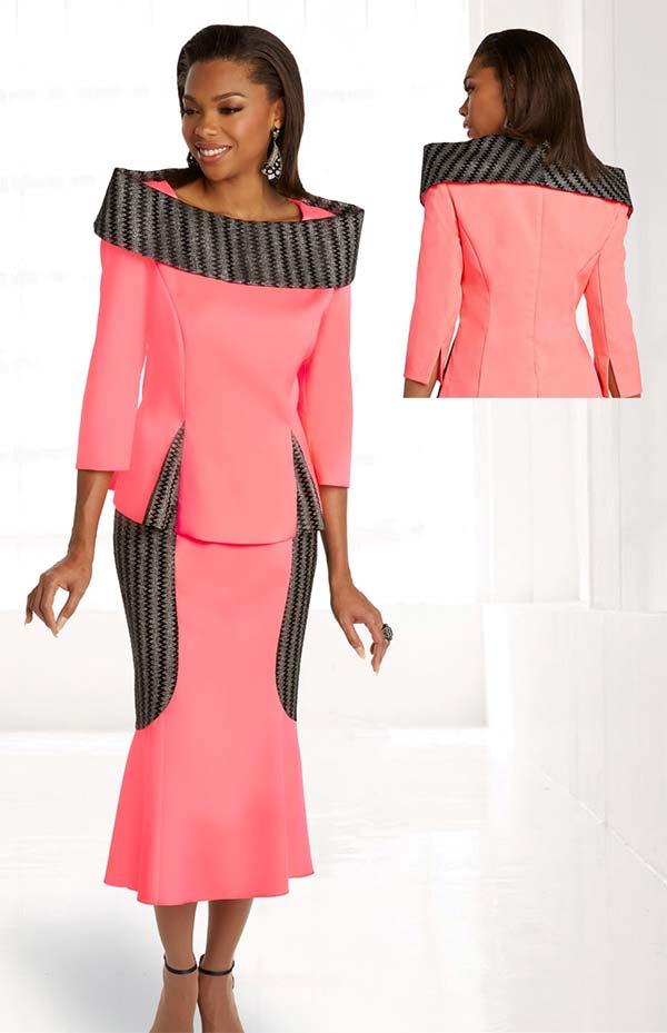 Donna Vinci 11849 Peach Skin And Metallic Fabric Skirt Set With Over Shoulder Portrait Collar