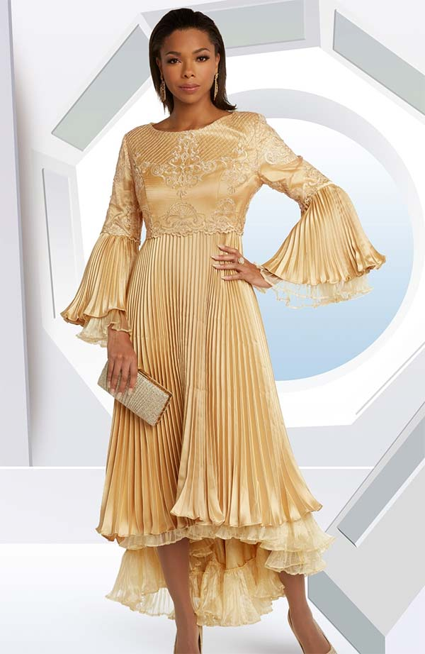 Donna Vinci 11850-Gold - Sequin Trimmed Dress In Pleated Silk Look And Embroidered Organza Fabric