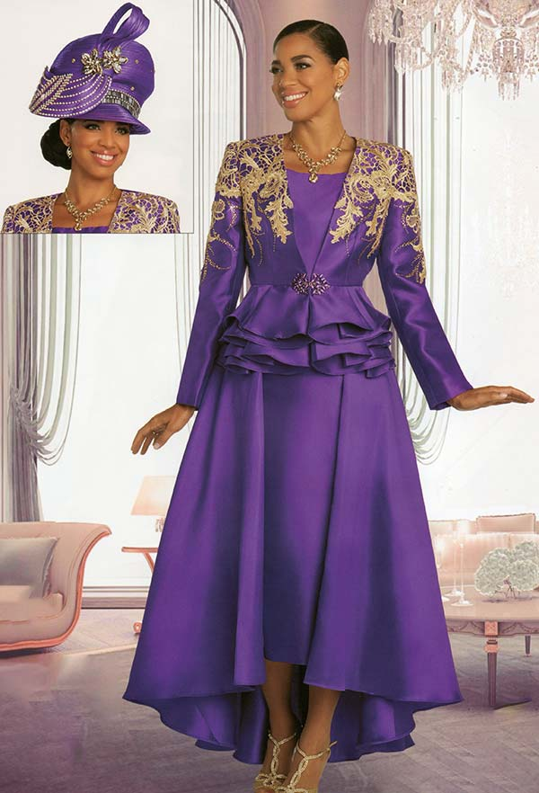 Donna Vinci 11851-Purple - Dual Layer Skirt Suit With Guipure Lace Accented Peplum Jacket