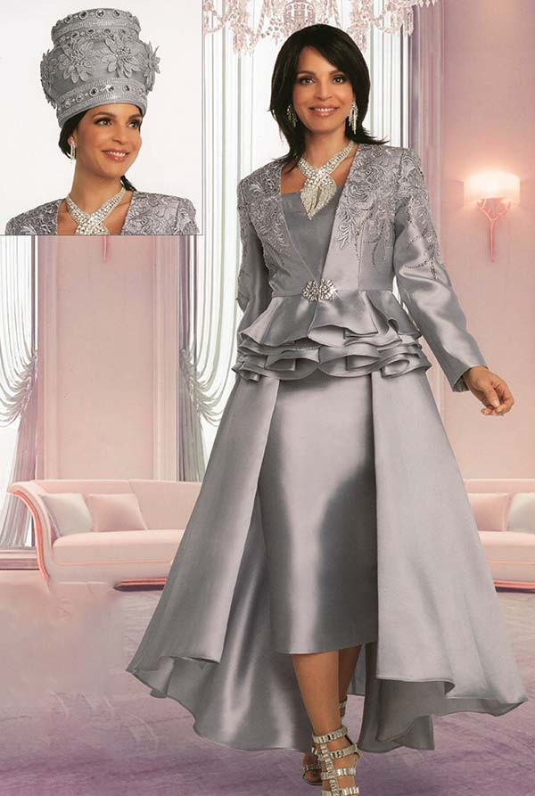 Donna Vinci 11851-Silver - Dual Layer Skirt Suit With Guipure Lace Accented Peplum Jacket