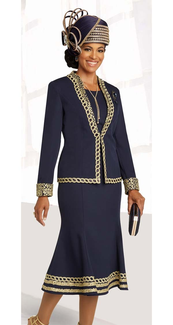 Donna Vinci 11854 Peachskin Fabric Flared Skirt Church Suit Featuring Gold Guipure Lace And Navy Rhinestones