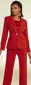 Donna Vinci 11856 Rhinestone Embellished Peach Skin Fabric Womens Peak Lapel Jacket & Pant Suit
