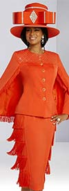 Donna Vinci 11857 Rhinestone Embellished Fringe Trimmed Peach Skin Fabric Skirt And Cape Jacket
