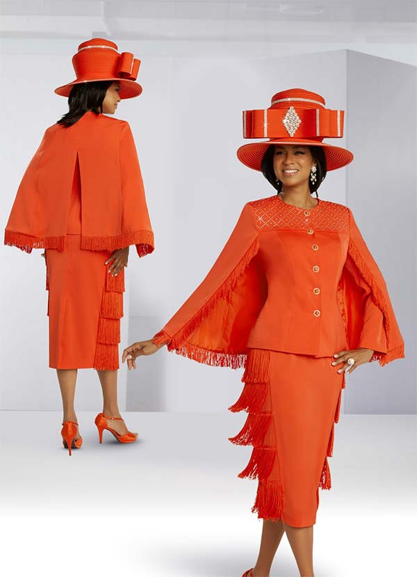 Donna Vinci 11857 Rhinestone Embellished Fringe Trimmed Peach Skin Fabric Skirt And Cape Jacket