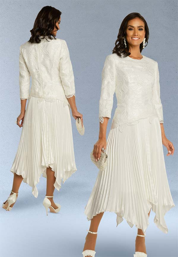 Donna Vinci 11859 Handkerchief Hemline Pleated Dress With Embroidered Bodice