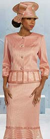 Donna Vinci 5664 Rhinestone Trimmed Womens Church Suit With Mesh Flounce Skirt