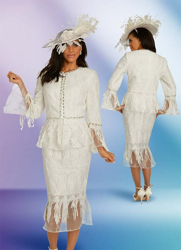 Donna Vinci 5667 Rhinestone Embellished Jacket & Skirt Set In Fringe Organza Design