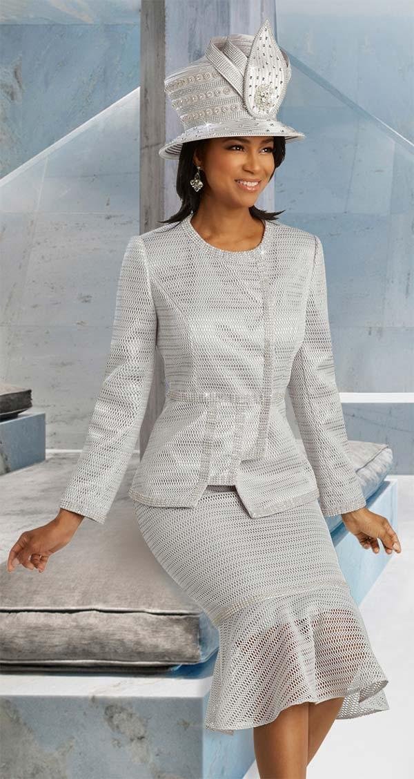 Donna Vinci 5668 Womens Flounce Hem Skirt Suit With Notched Detail Jacket