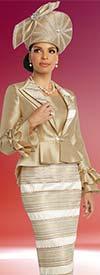 Donna Vinci 5669 Womens Stripe Design Skirt Suit With Ruffle Cuff Sleeve Peplum Jacket