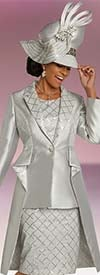 Donna Vinci 5670 Diamond Grid Pattern Womens Church Dress With Silk Look Notch Lapel Side Panel Jacket